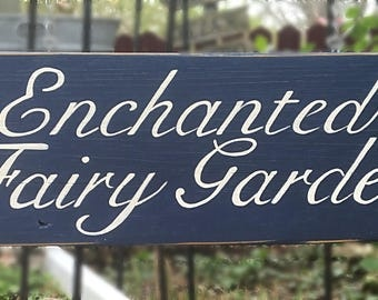 Enchanted Fairy Garden Sign Hand Painted Upcycled Sign Post Free Standing Porch Pedestal Sign Holder