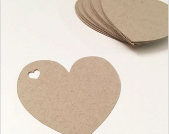 Kraft Heart Tags from recycled paper | Heart Cutouts Die Cuts | Set of 25 Pcs | Heart Tags, Wedding decor, Scrapbooking Embellishments