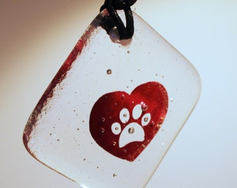 Fused Glass Heart & Paw Copper Mini Hanger Gift Dog Cat Print