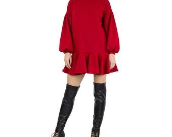 Ruffle Peplum sweater dress with dropped hem. Peplum top. Mini dress jumper. Long balloon sleeve blouse. Fall fashion pullover - AM