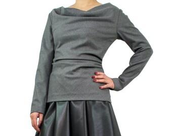 Asymmetric top/ Long sleeve top/ Drape top/ Women blouse/ Drape shirt/ Cowl neck top/ Long sleeve drape shirt/ Extravagant top CHICAGO