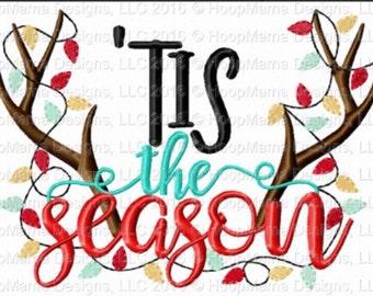 Tis the season! - Holiday applique shirt - deer antlers and christmas lights - applique design -monogram shirt - Christmas shirt