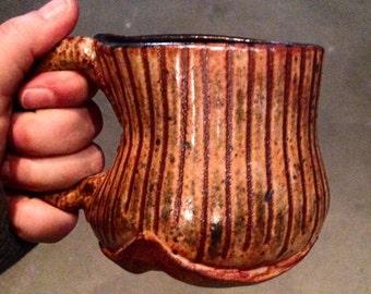 Shino Stripes Texture Mug - Ceramic Coffee Mug, Tea Cup