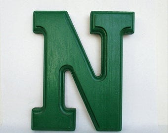 "Spring SALE 20% OFF Wall Hanging Solid Wood Letter ""N"" in Kelly Green Color, New Supply Last One"