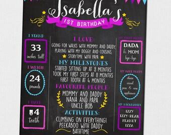 Birthday Board, Any Age Birthday Board, First Birthday Board, First Birthday Poster, Chalkboard Birthday Board, Printable Birthday Board