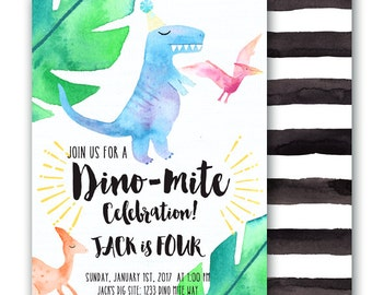 Dinosaur Invitation Dinosaur Birthday Party Dino Dig Dino-mite Birthday Invitation Customizable 5x7 Dino Party Dinosaur Birthday