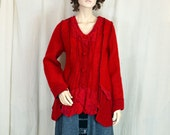 RESERVED for Emily        long jacket red felted wool, unique art to wear fleece, steamed wool fabric, warm lightweight wearable art artsy 1