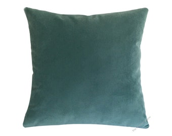Caribbean Green Velvet Suede Decorative Throw Pillow Cover / Pillow Case / Cushion Cover / 20x20""