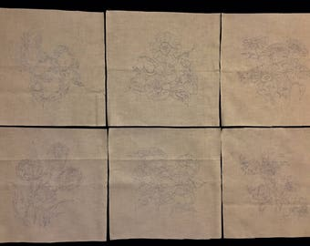 6 Flower Quilt Blocks for Hand Embroidery or Ball Point Painting Redwork - Bluework