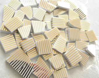 GOLD Stripes - Mosaic China Tiles - 50 Tiles