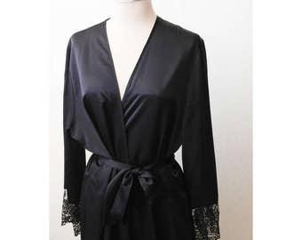 Vintage Satin Robe | Black Satin Robe | Black Lace Evening Robe | Neiman Marcus Saks 5th Ave Robe | Vintage Evening Robe for Women