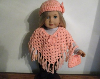 "Hand-Crocheted Peach 3 piece Poncho set with Flower Motifs for 18"" 18 inch Dolls will fit American Girl"