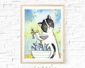 Cat Watercolor, Aceo Art, Original Aceo