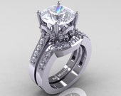 Classic 10K White Gold 3.0 Ct White Sapphire Solitaire Wedding Ring Bridal Set R301S-14WGDWSS