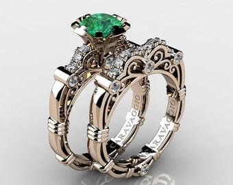 Art Masters Caravaggio 14K Rose Gold 1.0 Ct Emerald White Diamond Engagement Ring Wedding Band Set R623S-14KRGDEM