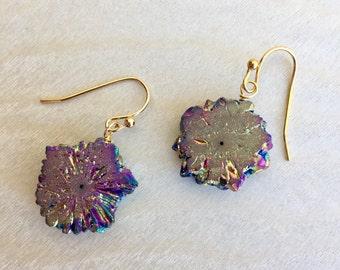 Rainbow druzy earrings