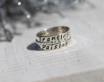 Personalized Rings- Set of 3 Rings- Hand Stamped Silver Rings- Hand Stamped Stering Silver Rings
