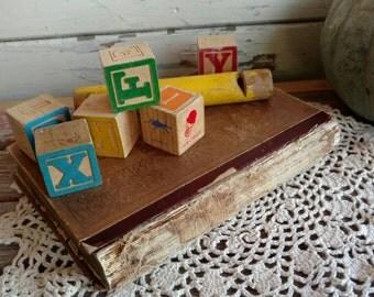 Retro Wooden Toy Blocks - Vintage Learning Toy, Vintage Gift for Kids, Kids Gift, Stocking Stuffer, Child Safe Toy, Bright Wooden Blocks