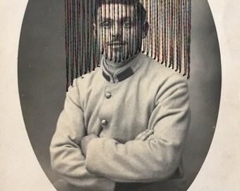 """français antique 1900 armée  Photo carte postale brodée """"herbert"""""""