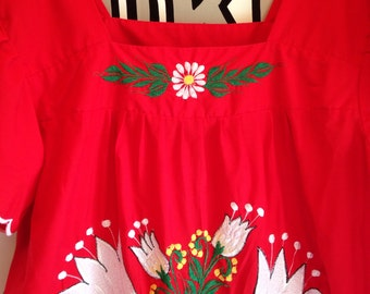 Vintage Embroidered Red Mexican Dress