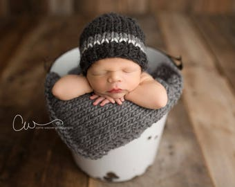 Newborn Black and Grey Chunky Wool Knit Beanie - Ready to Ship Photography Prop, RTS Photo Prop