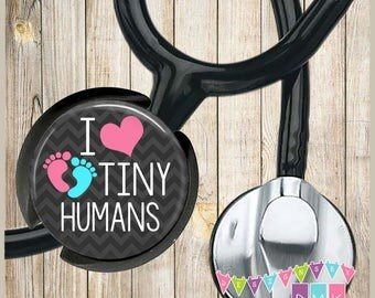 I Love Tiny Humans - Baby Feet - Black Chevron - Stethoscope ID Name Tag - Fits STANDARD Size Tubing