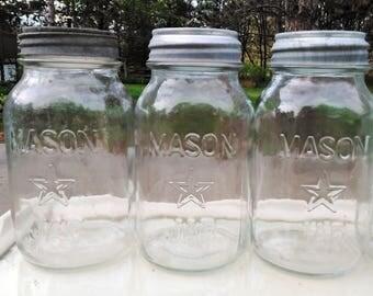 Antique Mason Star Jars - Mason Jars with Zinc Lids - 6 Availalble