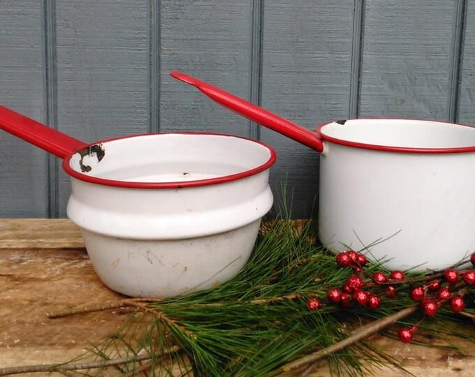 Vintage Enamel Pans - White Enamel Pan - Red Enamel Pans