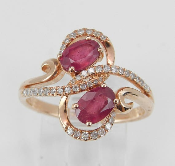 14K Rose Gold 1.40 ct Diamond and Ruby Cocktail Right Hand Ring Size 7 July Gem