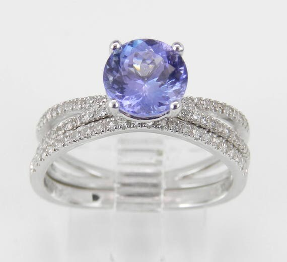 Diamond and Tanzanite Engagement Ring Wedding Band Set 14K White Gold Size 7