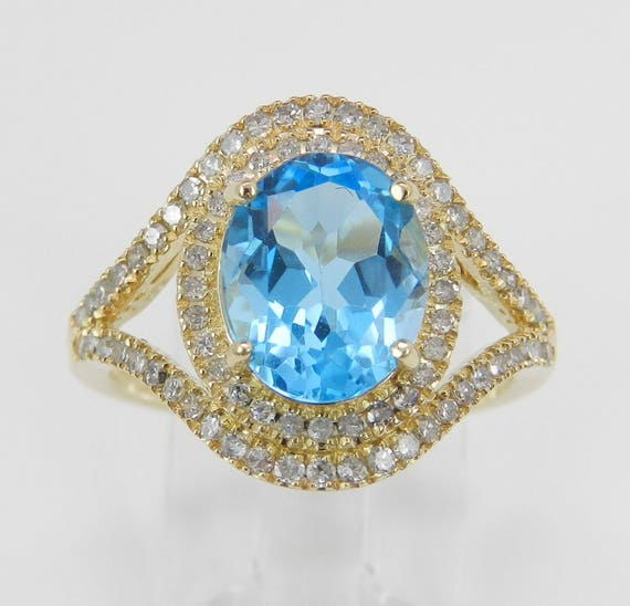 Diamond and Oval Blue Topaz Halo Engagement Promise Ring 14K Yellow Gold Size 7