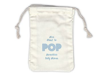She's About to Pop Baby Shower Personalized Cotton Bags for Favors in Light Blue - Ivory Fabric Drawstring Bags - Set of 12 (1017)
