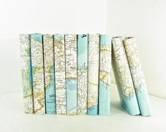 Vintage Book Decor, Vintage Map Book Covers, Vintage National Geographic Maps