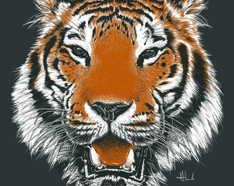 Tiger print drawing Tiger illustration poster A3 size Tiger art