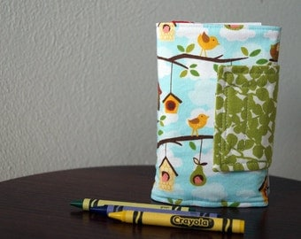 Crayon Wallet - Birds - Birdhouses - Pink - Blue - Green - Crayon Holder - Crayon Roll - Christmas Gift - Gift Under 20