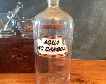 Antique English apothecary  Bottle with  original label