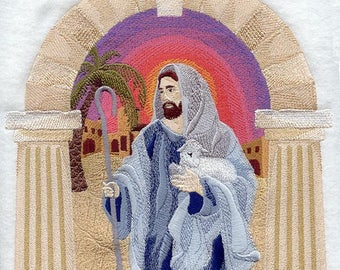 Jesus the Good Shepherd Embroidered on Kona Cotton Quilt Block // Plain Weave Cotton Dish Towel // Also Available on Other Items