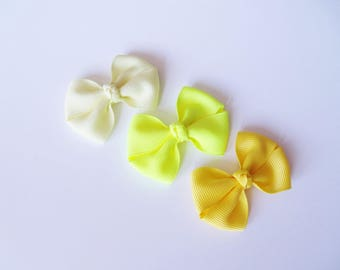 Yellow Small Hair Bows - One Size Nylon Headbands - Mini Pig Tail Bow Hair Clips - Satin or Grosgrain - Light, Neon, Yellow - You Pick Color