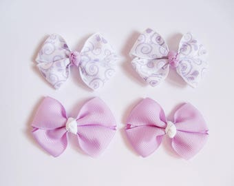 Lavender Mini Hair Bows - Spring Vines One Size Nylon Headbands - Small Pig Tail Bow Set Grosgrain Hair Clips