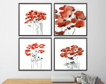 Red Poppy Print Set watercolor 8x8 abstract floral art for kitchen sister best friend, nursery art, express shipping