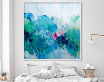"Large Abstract Print from canvas painting 40x40"" giclee Blue painting with green - modern Painting wall art prints by Duealberi"