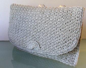 Vintage Crocheted Raffia Clutch Purse