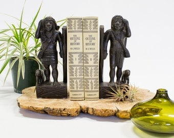 African Ebony Bookends, Male and Female Foragers, Vintage Boho Decor