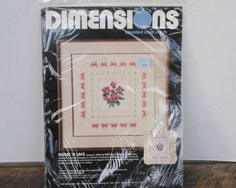 1986 Dimensions  Roses N Lace Counted Cross Stitch Kit