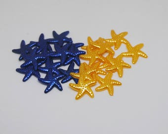 Dark Royal Blue and Gold Star Fish Cabochon Resin Flat Back 19mm Set of 20