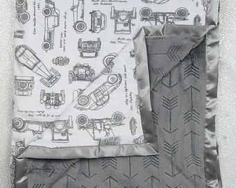 Baby boy, minky blanket, soft blanket, cars blanket, arrow blanket, boho, hipster, grey and white blanket, baby boy gift, automobiles