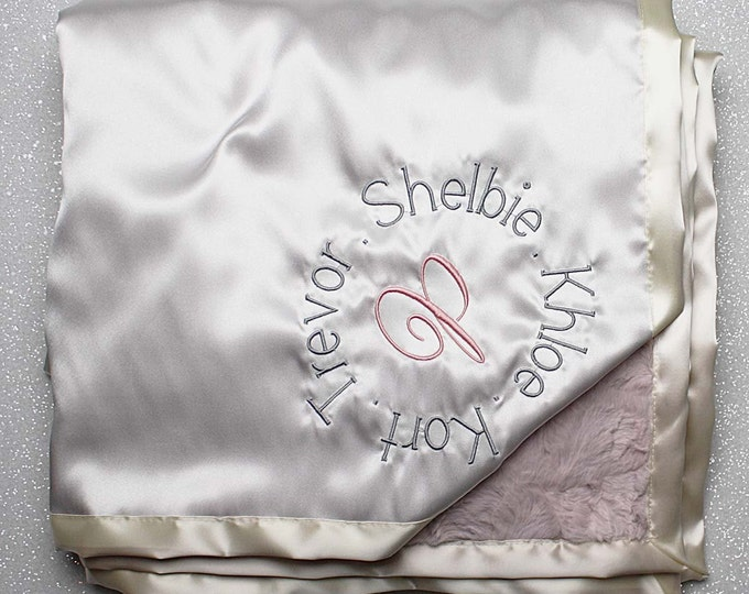 Custom Minky Blanket, personalized gift, monogrammed  Embroidered Blanket, family gift, cream and blush, ivory and pink, satin blanket, silk