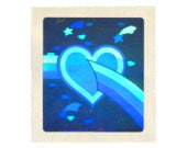 Rare Vintage 80's HALLMARK Stickers ~ HOLOGRAPHIC Rainbow Heart Shooting Stars