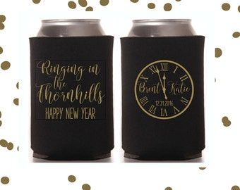 New Years Eve Wedding Can Coolers   NYE Wedding Party Favor   Personalized  for Bride and Groom   Ringing in 2017   FREE Standard Shipping