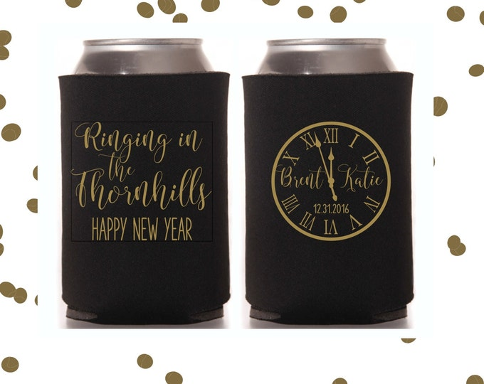 New Years Eve Wedding Can Coolers | NYE Wedding Party Favor | Personalized  for Bride and Groom | Ringing in 2017 | FREE Standard Shipping